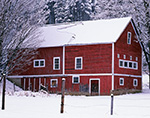 Big Red Barn during Winter Snowstorm, Winchester, NH