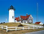 Nobska Point Light under Bright Blue Skies, Cape Cod, Falmouth, MA