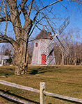 Eastham Windmill with Tree and Split-rail Fence (Built 1680, Oldest on Cape Cod), Windmill Green, Cape Cod, Eastham, MA