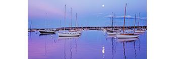 Moonlight over Sailboats in Vineyard Haven Harbor, Martha's Vineyard, Tisbury, MA