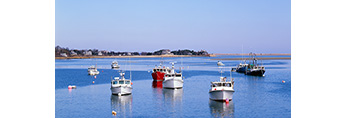 View of Commercial Fishing Boats from Chatham Fish Pier, Chatham Harbor, Cape Cod, Chatham, MA