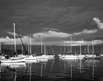 Dark Sky and Evening Light on Sailboats after Summer Storm, Pine Island Bay, Groton, CT
