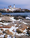 Nubble Light in Winter with Rocky Shoreline in Foreground,  Cape Neddick, York, ME