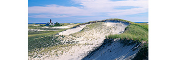 Dunes and Monomoy Point Lighthouse, South Monomoy Island, Monomoy National Wildlife Refuge, Cape Cod, Chatham, MA