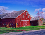 Old Red Barn with Old Farm Implement and Wooden Indian, Orange, MA