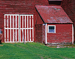 Section Detail of Old Red Barn with White Trim, Connecticut River Valley, Hadley, MA