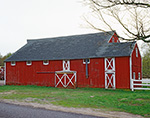 Red Barn with White Trim in Spring, Ashford, CT