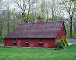 Dark Red Barn with Cupola and Cedar Shingle Roof, Hampton, CT