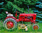 McCormick Farmall Cub Tractor with Mower Attached at Edge of Field, Ashby, MA