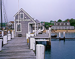 Black Dog Wharf with Black Dog Tavern in Background on Foggy Day, Vineyard Haven Harbor, Martha's Vineyard, Vineyard Haven, MA