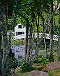 Selectmen's Building (1780) and Thaddeus Shepley Somes Memorial Bridge (1981) with Reflections as Seen Through Forest, Mt. Desert Island, Somesville, ME
