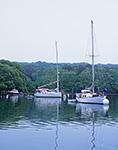 Boats on a Foggy Day in Lake Tashmoo, Martha's Vineyard,  Vineyard Haven, MA