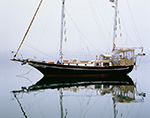 """Sailing Ketch """"Witch of Endor"""" with Reflections on Foggy Day in Lake Tashmoo, Martha's Vineyard,  Vineyard Haven, MA"""