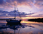 "Sailing Cutter ""Rachel Kalyn"" at Sunrise in Cedar Island Cove, Coecles Harbor, Long Island, Shelter Island, NY"