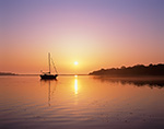 """Sailing Cutter """"Rachel Kalyn"""" in Calm Water at Sunrise with Reflection in Cedar Island Cove, Coecles Harbor, Long Island, Shelter Island, NY"""