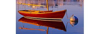 Herreshoff Wood Sailboat at Mooring with Reflections in Calm Waters of Vineyard Haven Harbor, Martha's Vineyard, Vineyard Haven, MA