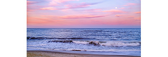 Moon at Sunset Over Atlantic Ocean at Cape Hatteras National Seashore, Outer Banks, Hatteras Island, NC