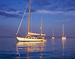 Late Evening Light on Boats in Wickford Harbor near Poplar Point, Wickford, North Kingstown, RI