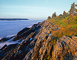 Early Morning Light on Cliffs on Cliff Island with Jewell Island and Anchorage in Background, Casco Bay, Portland, ME