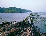 Rock Formations off Little Jewell Island looking toward Jewell Island, Casco Bay, Portland, ME