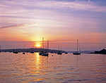 Sunrise over Boats in Merepoint Bay, off Casco Bay, Brunswick, ME