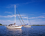 """Bayfield 32 """"Brown Eyes"""" at Mooring in Pine Island Bay, off Fishers Island Sound, Long Island Sound, Groton, CT"""