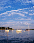 Evening Light on Boats in Pine Island Bay, off Fishers Island Sound, Long Island Sound, Groton, CT