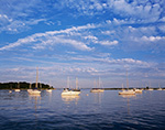 Late Evening Light on Boats in Pine Island Bay, off Fishers Island Sound, Long Island Sound, Groton, CT