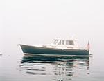 Legacy Motor Cruiser in Fog at Cliff Island, Casco Bay, Portland, ME