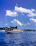 Boats in Tiverton Basin under Puffy Cumulus Clouds and Blue Skies, Sakonnet River, Portsmouth, RI and Tiverton, RI