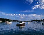 Boats at Moorings in Greenwich Cove under Fair Skies, Warwick, RI and Greenwich, RI