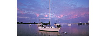 Sunrise over Boats in Pine Island Bay, off Fishers Island Sound, Long Island Sound, Groton, CT