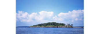 Long View of Eagle Island with Home of Admiral Robert Peary, Eagle Island State Historic Site, Casco Bay, Harpswell, ME