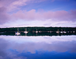 Boats in The Basin in Early Morning Calm off New Meadow River, Casco Bay Region, Phippsburg, ME