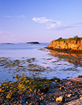 Late Evening Light on Cliffs along Shore of Cliff Island Looking Out Towards Bates Island, Casco Bay, Portland, ME