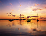 Sunrise with Cloud Reflections over Boats in Cove off Cliff Island, Casco Bay, Portland, ME