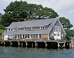 Cedar-shingled Boat House on Pier on Little Diamond Island, Casco Bay, Portland, ME