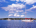 Sailboats in Ash Point Cove in Potts Harbor under Blue Sky and Cumulus Clouds, Casco Bay, Harpswell, ME