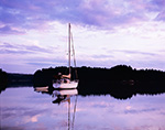 Late Evening Light on Boats in The Basin off New Meadow River, Casco Bay Region, Phippsburg, ME