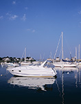Boats at Moorings in Scituate Harbor under Clear Blue Skies, South Shore, Scituate, MA