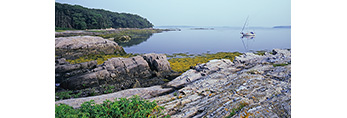 Boat in Cove and Rocks on Shore of Little Whaleboat Island, Casco Bay, Harpswell, ME