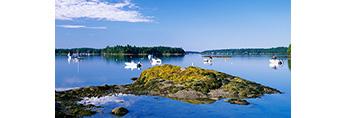 Boats in Quahog Bay near Great Island (Sebascodegan Island), Casco Bay Region, Harpswell, ME