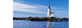 Halfway Rock Light Reflecting in Water with Seals on Rocks in Front, Halfway Rock, Casco Bay, Portland, ME
