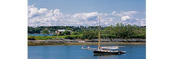 Gaff-rigged Friendship Sloop in Anchorage at Jewell Island with Little Jewell Island in Background, Casco Bay, Cumberland/Portland, ME
