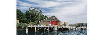 Lobster Shack on Pier on Great Island (Sebascodegan Island), Quahog Bay, Casco Bay Region, Harpswell, ME