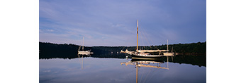 Early Morning Light on Boats in The Basin off New Meadow River, Casco Bay Region, Phippsburg, ME