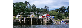 Lobster Shacks on Pier in Cundys Harbor on Great Island (Sebascodegan Island) off New Meadow River, Casco Bay Region, Harpswell, ME