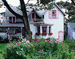 White and Pink Gingerbread House with Garden Phlox in Bloom,  Martha's Vineyard, Oak Bluffs, MA