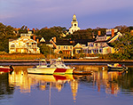 Early Morning Light on Boats in Nantucket Harbor with Homes and Church Steeple in Background, Nantucket Island, Nantucket, MA