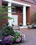 Flowers and Benches in Front of Peter Foulger Museum, Downtown Nantucket, Nantucket Island, Nantucket, MA